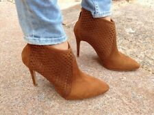 ZARA Tan Cutwork Stilleto High Heel Ankle Boots Size UK 7 8 EUR 40 41 USA 9 10