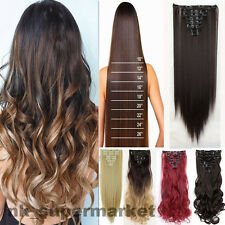 US As Real Human18 Clips 8 Piece Full Head Hair Extension Black Blonde Brown hyp