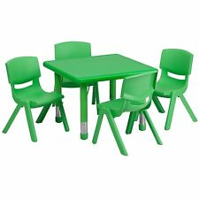 Green Kids Table & Chairs CHOOSE YOUR CHAIR HEIGHT +FREE SHiP Preschool daycare