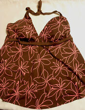 Barefoot Miss L or XL Choice Brown Pink Floral Swim Halter Swimsuit Top NWT