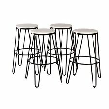 Tully Backless Modern Two Toned Wood and Metal Bar Stools Set of 4