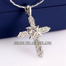 Fashion Silver Cross Pendant Necklace Charm 18KGP Rhinestone Crystal