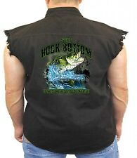 Fishing Denim Vest Ive Hit Rock Bottom Catch Bass Hook Angler Biker Wear