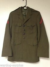 USMC MARINE CORPS MEN'S CHARLIE ALPHA GREEN COAT POLY/WOOL CLASS A DRESS UNIFORM