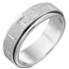 8MM STAINLESS STEEL MENS SANDBLASTED DIAMOND CUT SPINNING RING