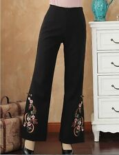 Charming Chinese women's Embroidery Pants Trousers Black Size M L XL 2XL 3XL