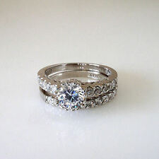 Sterling Silver Round Cut 1.25 Ct CZ Engagement Ring Wedding Band Set Sizes 5-8