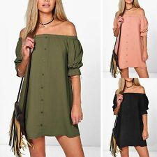 Sexy Women New Casual Off Shoulder Evening Party Button Dress Short Mini Dress O