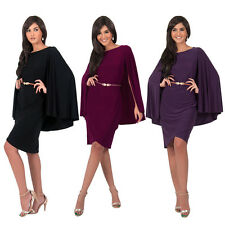 Women Casual Cape like Shawls Evening Party Prom Cocktail Bodycon Mini Dress