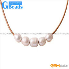 Fashion Jewelry 9-10mm 5 Pearls Strand Brown Rope Necklace Adjustable Size 17.5""