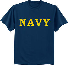 Men's t-shirt US United States Navy design USN mens tee navy blue yellow text