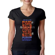 Religious V-Neck Shirt Jesus Paid The Price To Be The Christ Christian JUNIORS