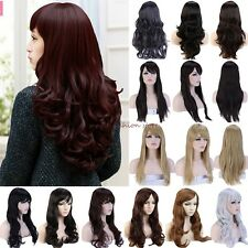 Amazing Wig Long Curly Straight Full Wigs Cosplay Party Daily Fancy Dress UK F66