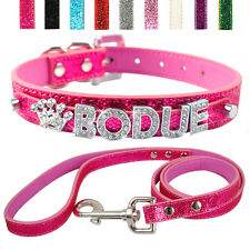 Bling Personalized PU Leather Small Dog Collar Leash Set Customized Free Name