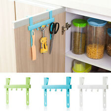 Rack Storage Door 5 Hooks Holders Hangers Kitchen Hanging White Towel BathroomSH
