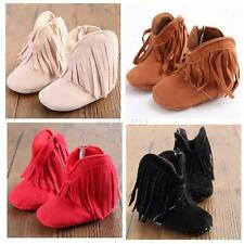 Baby Boy Girl Tassel Boots Shoes Soft Soled Newborn Toddler Winter Infant Fringe