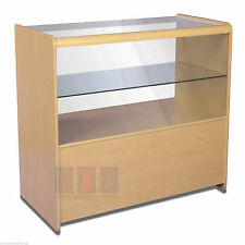 Retail Counter White,Maple Shop Display Cabinets Storage Glass Shelves Showcas