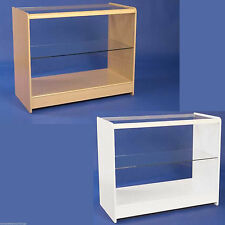 Retail Counter White Maple Shop Display Storage Cabinets Glass Shelves Showcase