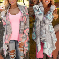 Women Cardigan Loose Sweater Long Sleeve Knitted Cardigan Outwear Jacket Coat OU