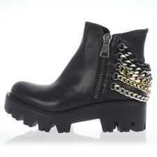 STRATEGIA New Woman Black Leather Boots Chains Zipped Shoes NWT