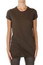 RICK OWENS DRKSHDW New Woman Brown Cotton DOUBLE TEE t-shirt Made Italy NWT