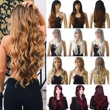 UK Ombre Ladies Wig Long Straight Curly Full Head Wigs Cosplay Party Fancy Dress