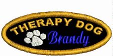 Therapy Dog Patch Working Dog Patch Personalized Dog Patch w Paw White Red Black