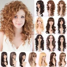 UK Lady Women Wigs Long Curly Straight Full Wig Cosplay Party Daily Fancy Dress