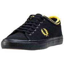 Fred Perry Kendrick Tipped Cuff Unisex Trainers Black Lime New Shoes
