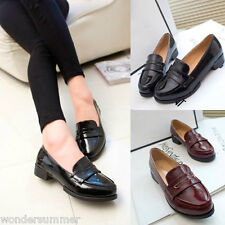 Vintage Ladies Slip On Womens Office Work Casual Flat Oxford Loafers Shoes Pumps