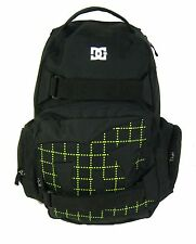 "New DC Shoes ""Laptop"" Backpack School Book Bag Black Green"