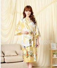 Chinese Silk Women's Kimono Robe Gown nightrobe Yellow Sz: M L XL XXL XXXL