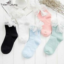 New Women Girls Fashion Retro Cute Lolita Bowknot Lace Ruffle Frilly Ankle Socks