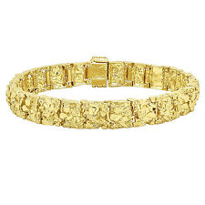 Mens Thick 11mm Wide Gold Nugget Link Bracelet Real 14K Yellow Gold Heavy Plated