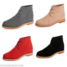Women's Caual Oxford Ankle Booties Lace Up Low Heel Shoes Flats Oxfords Boots