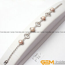 """6-7mm Freshwater Pearl Beads White Gold Plated Eye Base Jewelry Bracelet 7.5"""""""