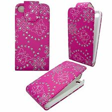 HOT PINK DIAMOND BLING GEM BUTTERFLY AND FLOWER COVER FOR APPLE IPHONE 4G/4S