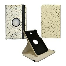 "WHITE BLING GLITTER 360ROTATING PULEATHER 7""INCH COVER SAMSUNG GALAXY TAB3 P3200"