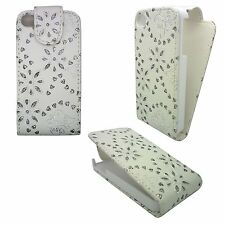 WHITE DIAMOND BLING GEM BUTTERFLY AND FLOWER COVER CASE FOR APPLE IPHONE 4G/4S