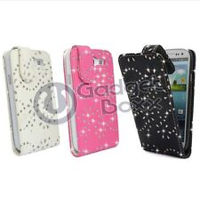 BLING DIAMOND FLIP PU LEATHER CASE COVER IN BLACK OR WHITE FOR SAMSUNG GALAXY S3