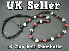 RED WHITE LONG HEAVY SHAMBALLA DISCO BALL CRYSTAL & HEMATITE NECKLACE MAGNETIC