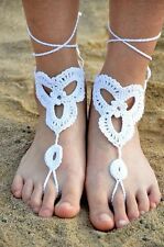 Women Barefoot Handmade Crochet Dancing Foot Ankle Anklet Cotton Bracelet Chain