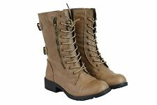 Women's PU-Leather Short Mid Calf Military Style Leather Boots Beige Fashion 9