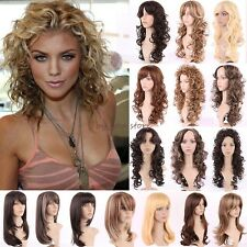 Silky Women Wigs Long Curly Straight Full Wig Cosplay Party Daily Fancy Dress UK