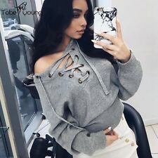 Womens Sexy Lace Up Long Sleeve Pullover Sweater Jumper Knitwear Cardigan Coat