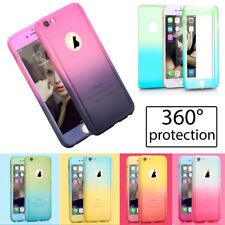 Hybrid 360° Full Body Case Skin + Tempered Glass Cover For iPhone 6 6S 7 Plus