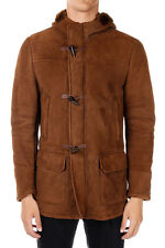 ID CORNELIANI New Men Brown Shearling hooded coat Jacket Made in Italy