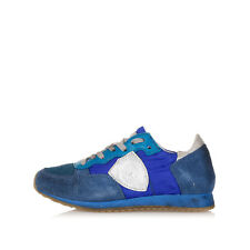 PHILIP MODEL Kids Blue Leather and Fabric Sneakers Shoes Made in Italy