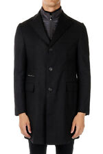 ID CORNELIANI New Men Black Padded Cashmere Wool coat Jacket made in italy