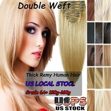 Elegant Clip in Thick+ Remy Human Hair Extensions Full Head Double Weft US SU297